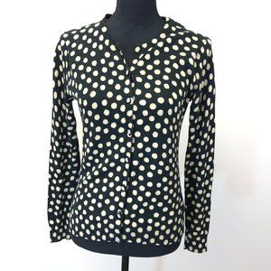 FOSSIL Black Polka Dot Cardigan Sweater
